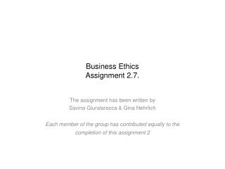 Business Ethics Assignment 2.7.