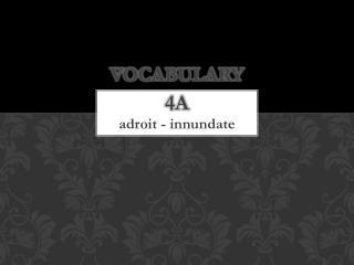 Vocabulary 4a