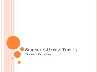 Science 9-Unit A Topic 7