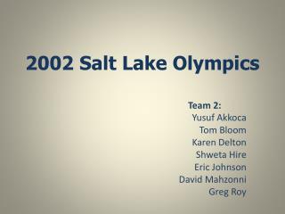2002 Salt Lake Olympics