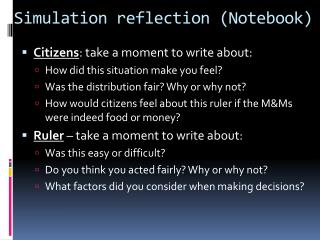 Simulation reflection (Notebook)