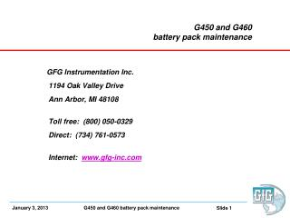 G450 and G460  battery pack maintenance