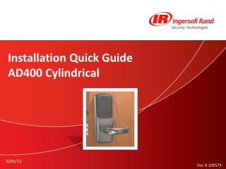 Installation Quick Guide AD400  Cylindrical