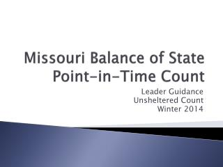 Missouri Balance of State Point-in-Time Count