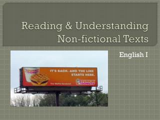 Reading & Understanding Non-fictional Texts
