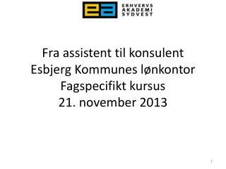 Fra assistent til konsulent Esbjerg Kommunes lønkontor Fagspecifikt kursus 21. november 2013