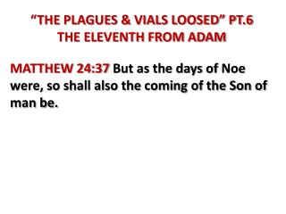 """THE PLAGUES & VIALS LOOSED"" PT.6 THE ELEVENTH FROM ADAM"