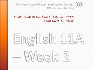 English 11A – Week 2