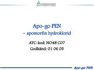 Apo-go PEN - apomorfin hydroklorid