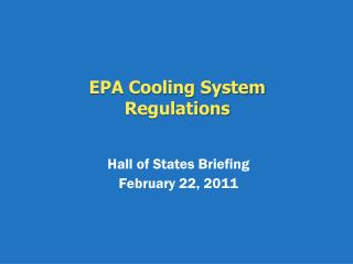 EPA Cooling System Regulations