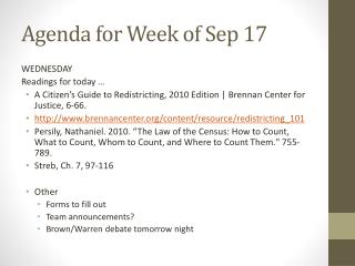 Agenda for Week of Sep 17