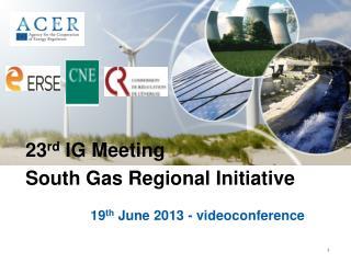 19 th  June 2013 - videoconference