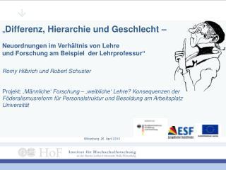 """"""" Differenz, Hierarchie und Geschlecht –  Neuordnungen  im Verhältnis von  Lehre"""