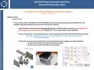 DQLPUR Project Overview and Plans Review 30 November 2012