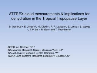 ATTREX cloud measurements & implications for dehydration in the Tropical  Tropopause  Layer