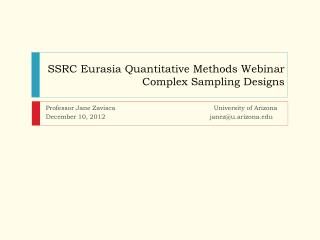 SSRC Eurasia Quantitative Methods Webinar Complex Sampling Designs