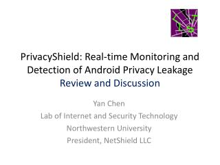 Yan Chen Lab of Internet and Security Technology Northwestern University