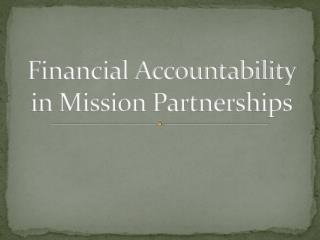 Financial Accountability in Mission Partnerships
