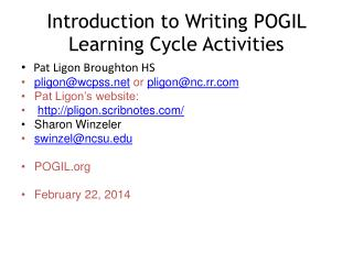 Introduction to Writing POGIL Learning Cycle Activities