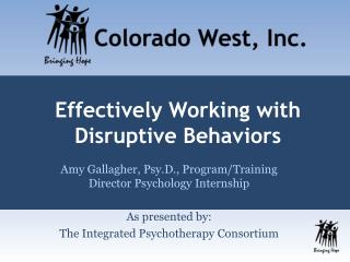 Effectively Working with Disruptive Behaviors