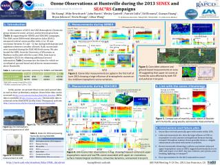 Ozone Observations at Huntsville during the 2013  SENEX  and  SEAC 4 RS  Campaigns