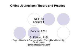 Online Journalism: Theory and Practice