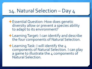 14. Natural Selection – Day 4