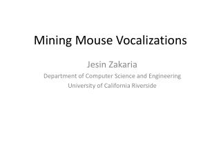 Mining Mouse Vocalizations