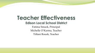 Teacher Effectiveness Edison Local School District