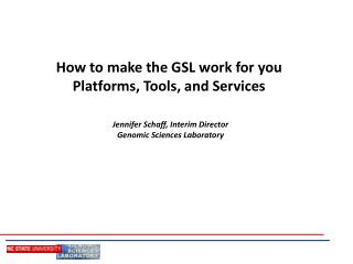 How to make the GSL work for you  Platforms, Tools, and Services