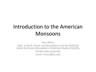 Introduction to the American Monsoons