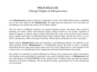 PRESS RELEASE: Chicago Chapter of  Ethiopiawinnet