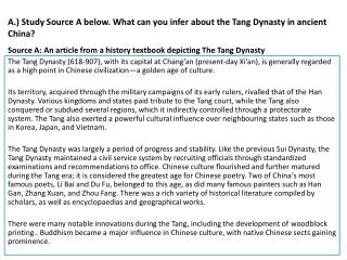A.) Study Source A below. What can you infer about the Tang Dynasty in ancient China?