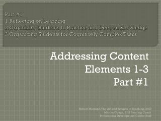 Addressing Content Elements 1-3 	Part #1