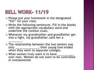 Bell Work- 11/19