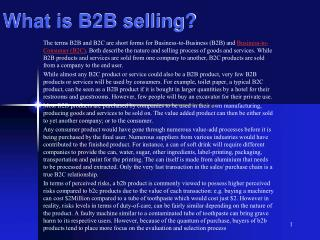 What is B2B selling?