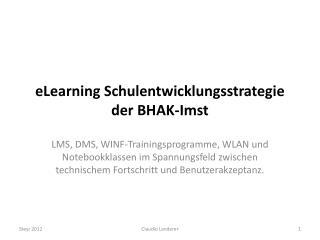 eLearning Schulentwicklungsstrategie der BHAK-Imst
