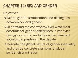 Chapter 11: sex and Gender