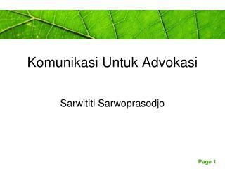 Komunikasi Untuk Advokasi