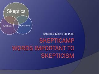 Skepticamp words important to skepticism