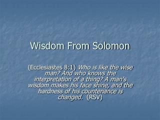 Wisdom From Solomon