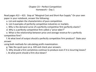 Chapter 23 – Perfect Competition Homework – Day 1