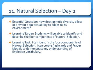 11. Natural Selection – Day 2
