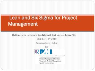 Lean and  Six Sigma for  Project Management