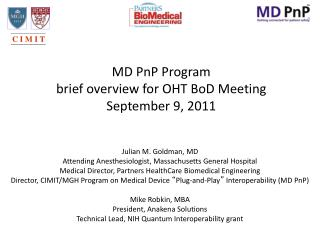 MD PnP Program brief  o verview for OHT  BoD  Meeting September 9,  2011