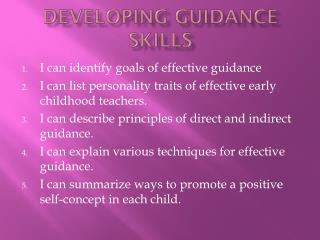 Developing Guidance Skills
