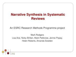Narrative Synthesis in Systematic Reviews