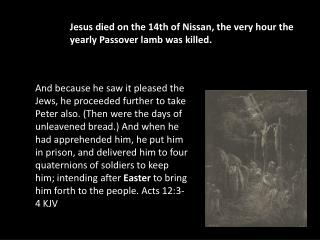 Jesus died on the 14th of Nissan, the very hour the yearly Passover lamb was killed.