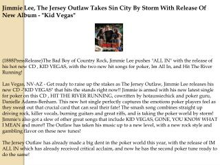 Jimmie Lee, The Jersey Outlaw Takes Sin City By Storm With R