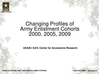 Changing Profiles  of  Army  Enlistment Cohorts 2000 ,  2005, 2009